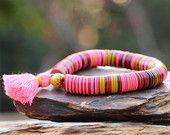 African Vulcanite Tassel Bracelet, Vintage Vinyl w Chevron Trade Bead and Neon Pink Tassel, Trendy Tribal Stretch Bracelet, Colorful Fun
