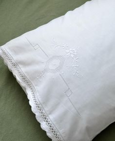 This is a set of 2 linen pillowcases with scallop crochet lace edges. The embroidery on the pillowcases is in white and of a beautiful Peony. Each pillowcase measures approx. 20 x 30 and will fit any standard or queen size pillow. Crochet Lace Edging, Linens And More, Personalized Napkins, Wedding Handkerchief, Absolutely Gorgeous, Beautiful, Linen Towels, Scalloped Lace, Pillowcases