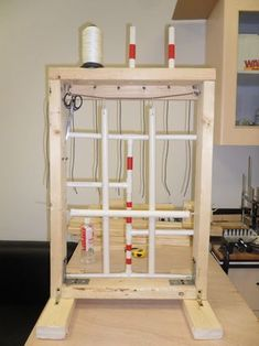A knot-tying station you can use to practice various knot-tying skills. Wood planks, screws, and PVC pipes were used in construction. Paracord and nylon string are...