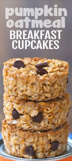Soft, baked, healthy pumpkin oatmeal breakfast cupcakes that are completely vegan!