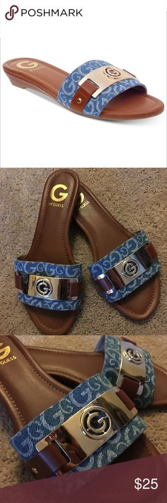 """G by GUESS Slide Flat Sandals Jeena Gold & Blue BARELY worn G by GUESS slide-on sandals! Gold-tone metallic hardware with logo with blue denim color. Sophisticated and causal! 1/4"""" heel size 7. Perfect summer sandals! NO TRADES G by Guess Shoes Sandals"""