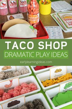 Check out all of these taco shop dramatic play ideas. Transform your dramatic play area or playroom into a taco restaurant or taco truck. This is perfect for your dramatic play center your preschool or pre-k classroom or for at home learning for preschoolers. You will have fun with these DIY ideas for making food, props, and decor and will be able to set up your taco restaurant in no time. There are plenty of developmentally appropriate (DAP), hands-on learning opportunities. Dramatic Play Area, Dramatic Play Centers, Hands On Learning, Home Learning, Making Food, Food To Make, Taco Restaurant, Taco Shop, Play Centre