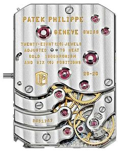 Patek Philippe Ref. 5200 Gondolo 8 Days, Day & Date Indication, Movement (back) - The movement's patented oscillator uses a Spiromax balance spring and a Pulsomax escapement with an escape wheel and lever made of Silinvar.