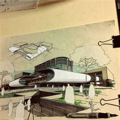 By check out our simple sketching tutoria Architecture Sketchbook, Architecture Graphics, Futuristic Architecture, Landscape Architecture, Landscape Design, Architecture Design, Amazing Architecture, Sketches Arquitectura, Building Sketch