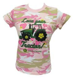 John Deere Pink Camo `Love Your Tractor` S/S Tee Shirt Youth Sizes