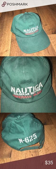 Vintage Nautica Spell Out Cotton Dad Hat Cap Green Excellent condition Nautica Accessories Hats