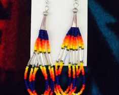Native American Beaded Earrings by GlitteredAllOver on Etsy Seed Bead Jewelry, Seed Bead Earrings, Etsy Earrings, Beaded Jewelry, Bohemian Jewelry, Dangle Earrings, Beaded Bracelet Patterns, Jewelry Patterns, Beaded Bracelets