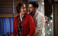 Miranda Hart and Tom Ellis in BBC Ones Miranda Photo: BBC