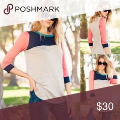 Heather gray colorblock top Multi color navy, coral 3/4 sleeves heather gray top. Made in USA Tops Blouses