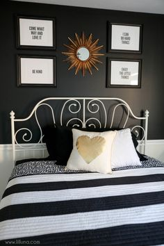Black, White and Gold Guest Bedroom - so simple and beautiful!