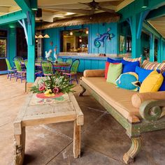Love the colors! Hawaiian Cottage Style - tropical - patio - hawaii - Fine Design Interiors, Inc Design Tropical, Style Tropical, Tropical Patio, Tropical Outdoor Decor, Tropical Colors, Outdoor Kitchen Design, Patio Design, Interior Design Kitchen, House Design