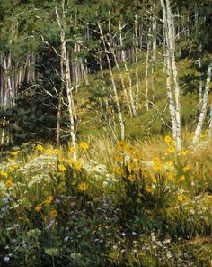 Aspen and Sunflower Serendipity 20 x 16 Oil