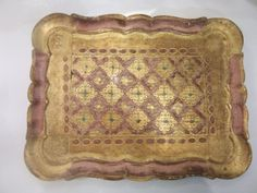 Vintage Italian Florentine Florentia Pink Gold Serving Tray Hand Made Italy