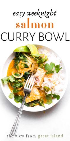Salmon Coconut Curry is an easy weeknight dinner bowl that's on the table in less than 30 minutes. This easy Thai curry is healthy and delicious! #easy #salmonrecipe #recipe #curry #salmon #healthy #fish #meatless #dairyfree #Thai #Asian #dinner #30minutes #glutenfree #kids #weeknight Top Recipes, Salmon Recipes, Easy Dinner Recipes, Seafood Recipes, Indian Food Recipes, Asian Recipes, Beef Recipes, Cooking Recipes, Healthy Recipes
