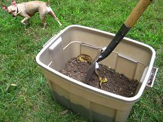 How to make a compost bin from a big plastic container (so easy!)