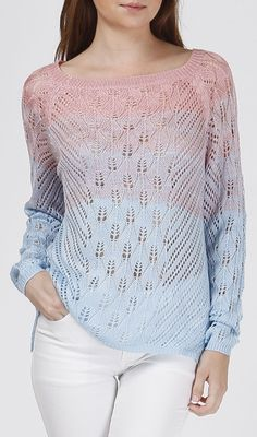 Pink  Blue Ombré Knit Sweater❥ #Fashion #Tops #Shirts