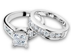 Princess Cut Diamond Engagement Ring and Wedding Band Set 3 Carat (ctw) in 14K White Gold