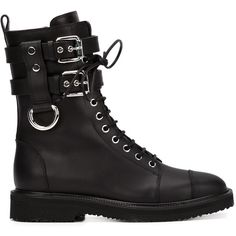 Giuseppe Zanotti Design buckled combat boots ($1,515) ❤ liked on Polyvore featuring shoes, boots, ankle booties, black, black combat boots, black lace-up boots, lace up combat boots, combat boots and military boots