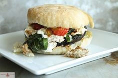 Grilled Portobello Mushroom Burger with Roasted Ricotta, Basil and Cherry Tomatoes
