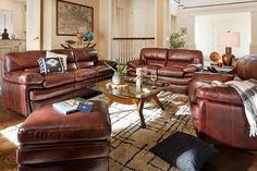 Peaceful Place. Inviting looks and irresistible comfort abound in the Peyton Chestnut leather living room collection. The wide, overstuffed design translates to abundant space and makes relaxation easy. The warm and rich chestnut color makes a terrific base for brand-new home designs.