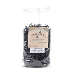 Chiotiko Kellari Sepia Ink Fetuccine Pasta: Chiotiko Kellari produces a range of innovative products on the island of Chios. This is a tasty fetuccine pasta with spinach. Combines perfectly with a seafood based sauce. Try it with squid or shrimps.