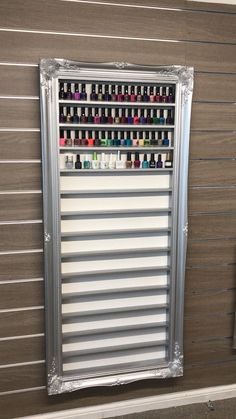 Beautiful Baroque nail polish storage with a lockable Perspex door Informations About Silver pewter Home Nail Salon, Nail Salon Design, Nail Salon Decor, Beauty Salon Decor, Salon Interior Design, Beauty Room Decor, Beauty Nail Salon, Nail Polish Wall Rack, Nail Polish Storage
