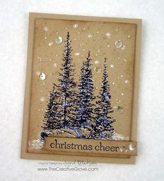 thecreativegrove.com: Pines on Rocks Winter Sequin Card (5)