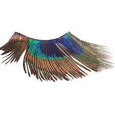 Peacock eye feathers...you wear these like false eyelashes. Erm, okay... (CatsMeow1940 on Etsy)