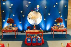 The Little Prince themed party Fotos Baby Shower, Baby Shower Deco, Baby Boy Shower, Prince Birthday Party, 1st Boy Birthday, First Birthday Parties, The Little Prince Theme, Little Prince Party, London Theme Parties