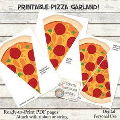 Pizza Party Banner Garland Printable Pizza Party Bunting