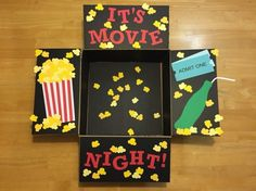 """Movie Night Basket Gift """"It& Movie Night! A care package for my airman full of popco. Diy Birthday, Birthday Gifts, Birthday Ideas, Cute Gifts, Diy Gifts, Movie Night Gift Basket, Diy 2019, Movies Box, Photo Album Scrapbooking"""