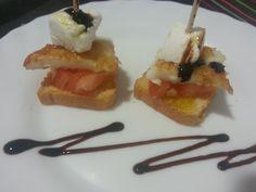 Pinxos de llenguado, tomàquet i formatge