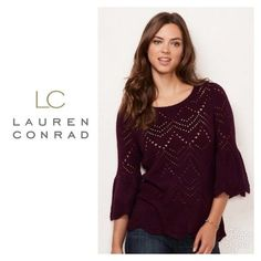 f99eb772ac Womens LC Lauren Conrad Wine Sweater Bell Sleeve Crew Neck Scallop Edge Sz  S NWT  LCLaurenConrad  Sweater  any
