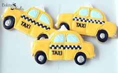 PLEASE READ ALL SHOP POLICIES BEFORE PURCHASING<<<  Listing is for one dozen (12) hand decorated New York Inspired Taxi Cab Cookies  Cookies are decorated in royal icing. Tire rims and bumpers are painted with silver luster dust. DATE NEEDED: Please leave your event date in note to seller during checkout. ****************************************************************************** CUSTOM LISTING: If you need additional cookies please convo me and I would be glad to put up a special listing…