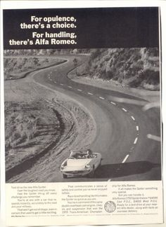 1971 Vintage Ad Alfa Romeo Spider Car Mountain Road