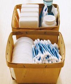Store bathroom essentials in an eco-friendly (but still pretty) berry basket.