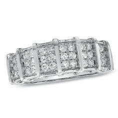 I ♥ this!! Men's 1/2 Ct. T.W. Diamond Wedding Band in 10K White Gold.