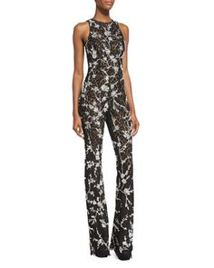 041bfde9a8f6 Michael Kors Floral-Lace Flare-Leg Jumpsuit