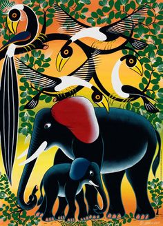 """Elephant Family - Tinga Tinga art from Africa. 1000 piece puzzle. Finished size is 19"""" x 27"""". This series features art of the """"Tinga Tinga Arts Co-operative Society,"""" a unique collection of colorful art from Tanzania. Released 2012."""