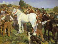 Alfred James Munnings - The Michaelmas Horse Sale // Sir Alfred James Munnings KCVO, PRA October 1878 – 17 July was known as one of England's finest painters of horses, and as an outspoken enemy of Modernism. Animal Paintings, Horse Paintings, Alfred Munnings, Horse Posters, Dog Poster, Horse Drawings, Sports Art, Equine Art, Horse Art