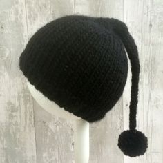 Black Baby Pixie Hat, Toddler Pixie Hat, Knit Elf Hat, Hand Knit Baby Hats, Baby…