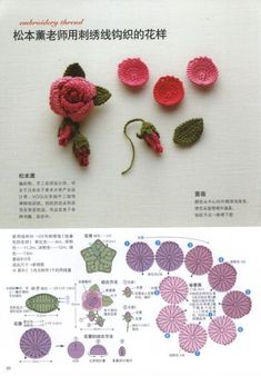 crochet flower patterns The listing is for an eBook (electronic book) IN JAPANESE LANGUAGE Crochet lace ebook in Chinese language. Crochet Diy, Crochet Design, Beau Crochet, Crochet Puff Flower, Crochet Brooch, Crochet Flower Patterns, Crochet Flowers, Crochet Earrings, Lace Patterns
