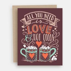 Love & Hot Cocoa - A2 Note Card #Christmas #Gifts #Holiday