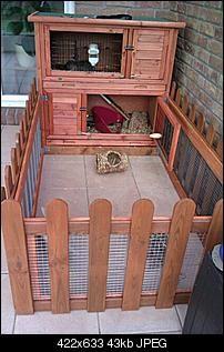 En fin lille løbegård tilknyttet et standardbur. Giver kaninen mulighed for at bevæge sig.  http://www.kaninhaandbogen.dk #kaniner #udekaniner #kaninhaandbogen