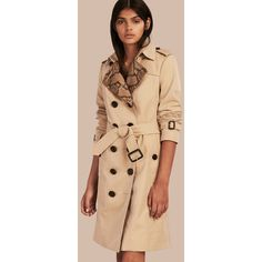 Burberry Python Print Detail Cotton Gabardine Trench Coat (€2.290) ❤ liked on Polyvore featuring outerwear, coats, slim trench coat, slim fit coat, burberry trenchcoat, beige trench coat and trench coat