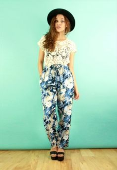 Navy & Cream Abstract Print Trousers