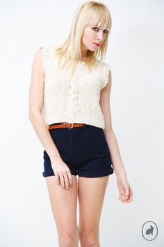 Vintage 80s Cropped Knit Sweater Tank Top  Peachy by SHOPAT851, $26.00