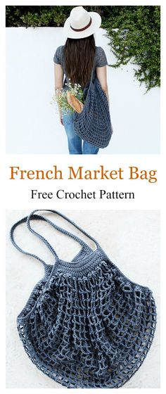 French Market Mesh Bag Free Crochet Pattern #freecrochetpatterns
