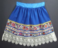 Beautiful Hand Embroidered Antique Moravian Folk Costume Apron Kroj Czech Ethnic