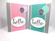 Stampin Up Hello, Birthday Celebration, Positively Chevron, Polka Dot Background Stamp, Welcome Baby StampinINK